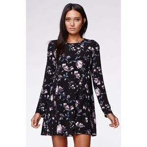 Kendall & Kylie Floral Baby Doll Dress Long Sleeve